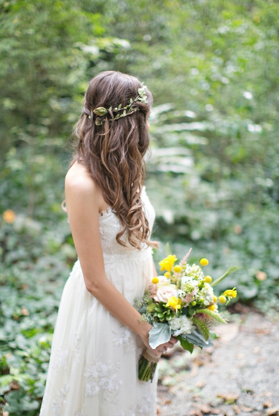 Most Popular Long Wedding Hairstyles With Flowers In Hair Inside Wedding Hairstyles For Long Hair Flower Girl Best 25 Flower Crown (View 6 of 15)