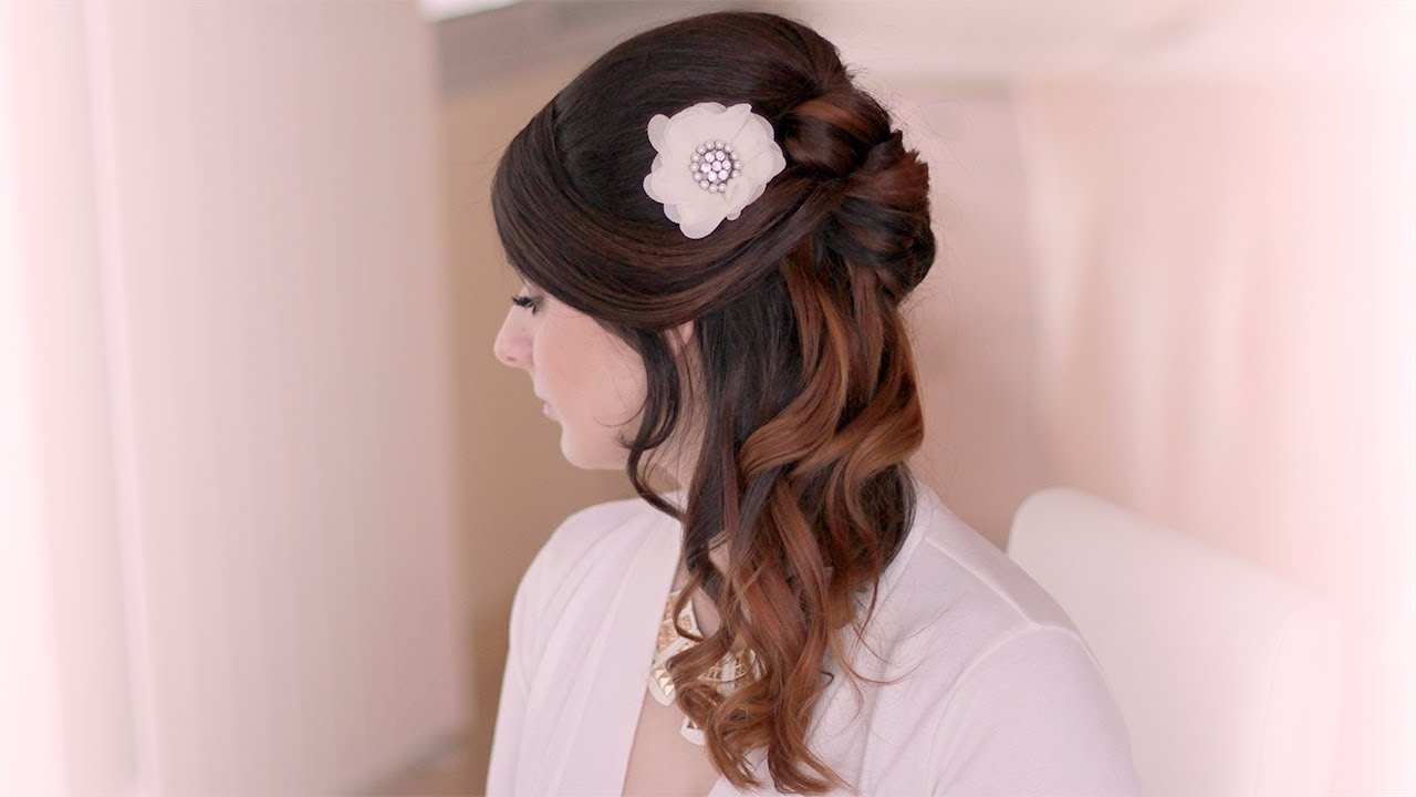Most Popular Part Up Part Down Wedding Hairstyles With Wedding Hairstyle Tutorial (View 11 of 15)