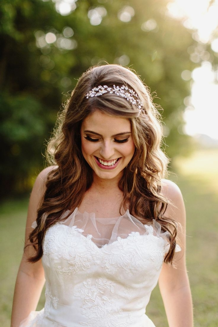 Most Popular Wedding Hairstyles For Long Hair With A Tiara Inside Long Hairstyles : Amazing Wedding Hairstyles For Long Hair Half Up (View 6 of 15)