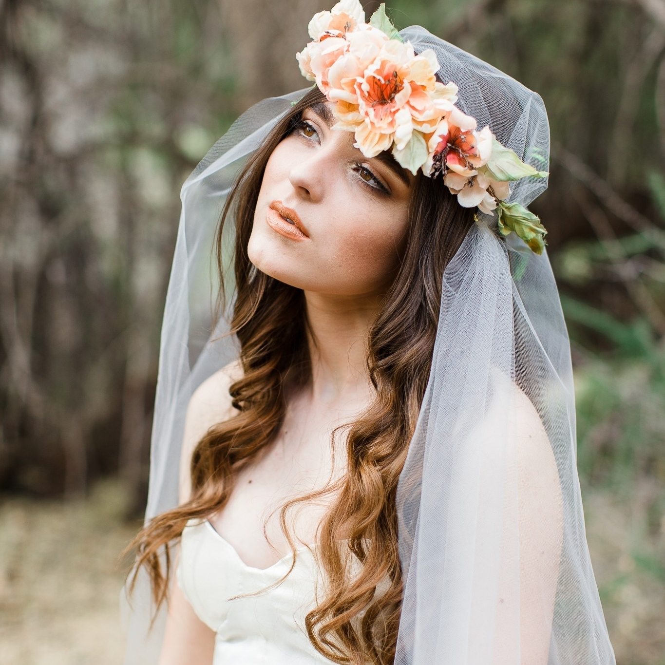 Most Popular Wedding Hairstyles For Long Hair With Crown Within Wedding Hairstyles Ideas: Charming Light Slamon Wedding Hair Flowers (View 9 of 15)