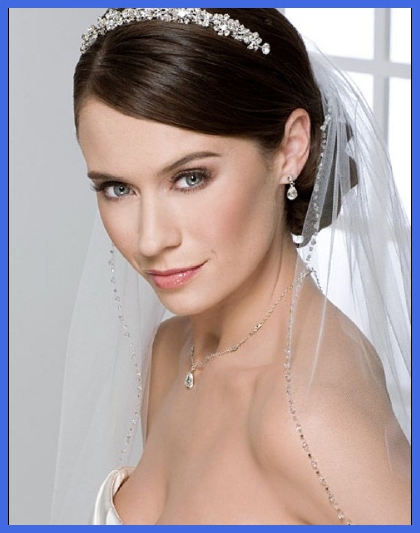 Most Popular Wedding Hairstyles For Short Hair With Tiara Pertaining To Stunning Photo Wedding Hairstyles For Short Hair With Tiara And Veil (View 6 of 15)