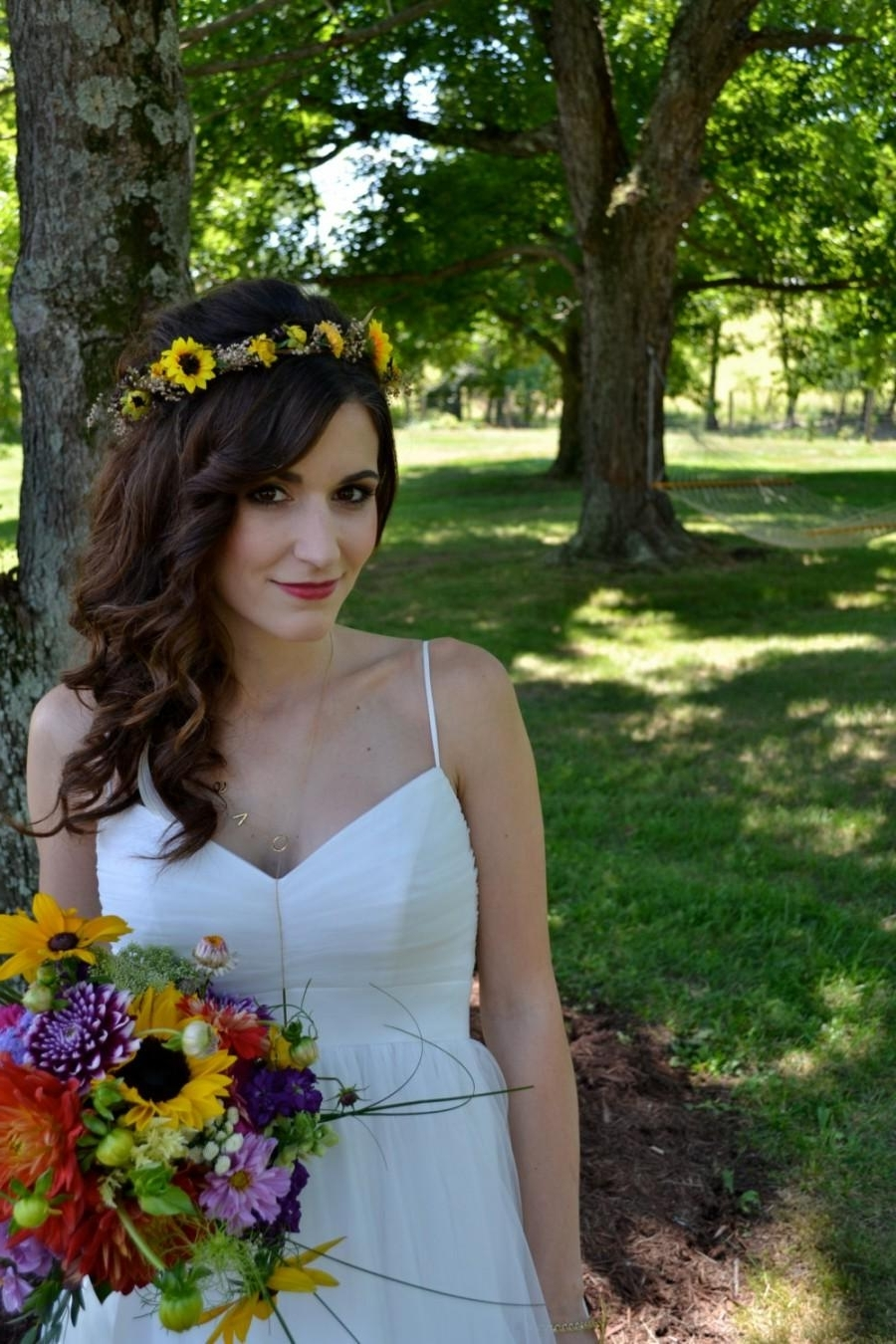 Most Popular Wedding Hairstyles With Sunflowers Inside Autumn Sunflower Bridal Party Hair Wreath Accessories Dried Flower (View 9 of 15)