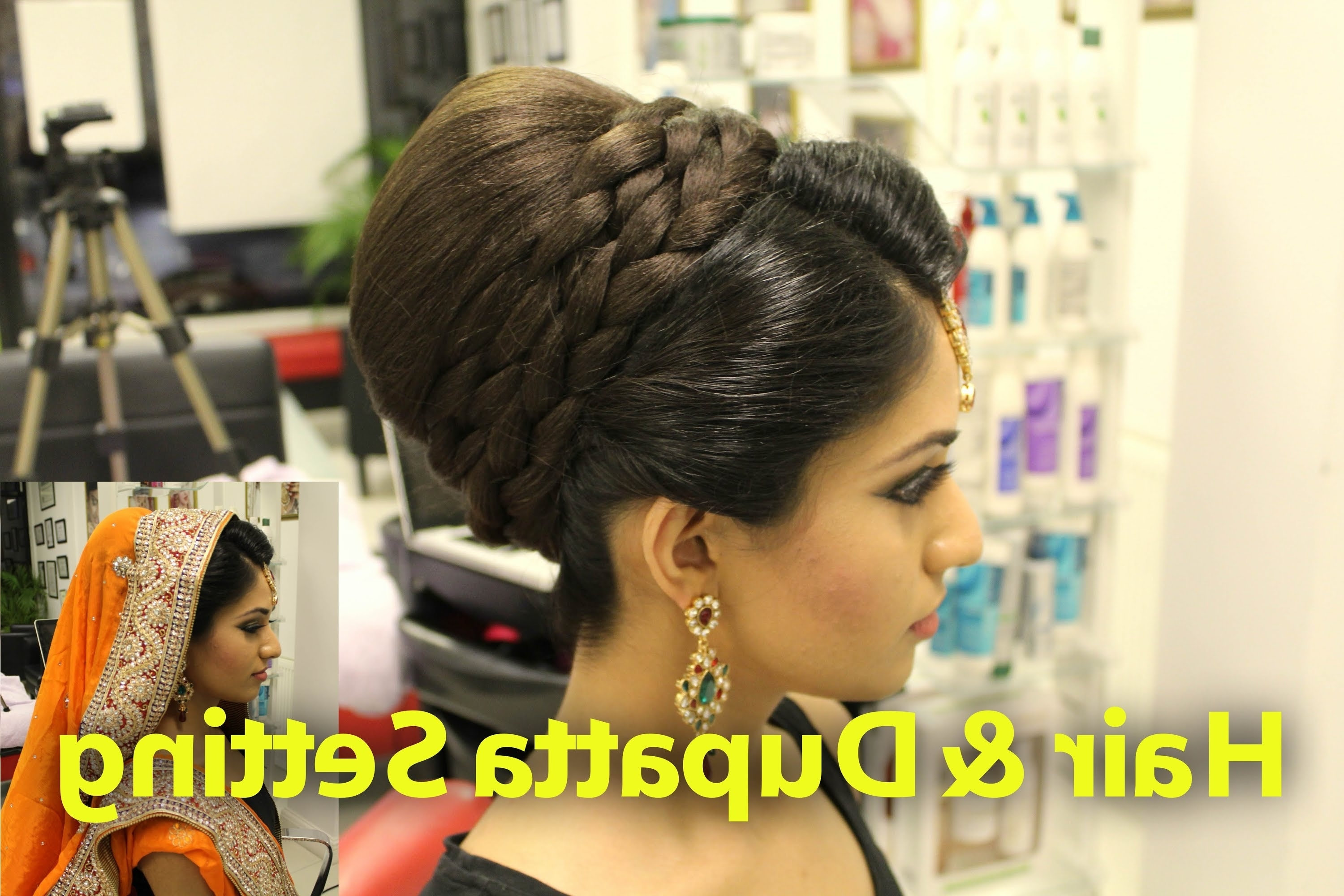 Most Recent Asian Wedding Hairstyles Intended For Tutorial: Indian, Pakistani, Asian Bridal Hair Style – Youtube (View 9 of 15)