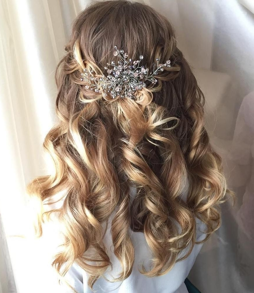 Most Recently Released Half Up Wedding Hairstyles For Bridesmaids With Regard To Half Up Half Down Wedding Hairstyles – 50 Stylish Ideas For Brides (View 8 of 15)