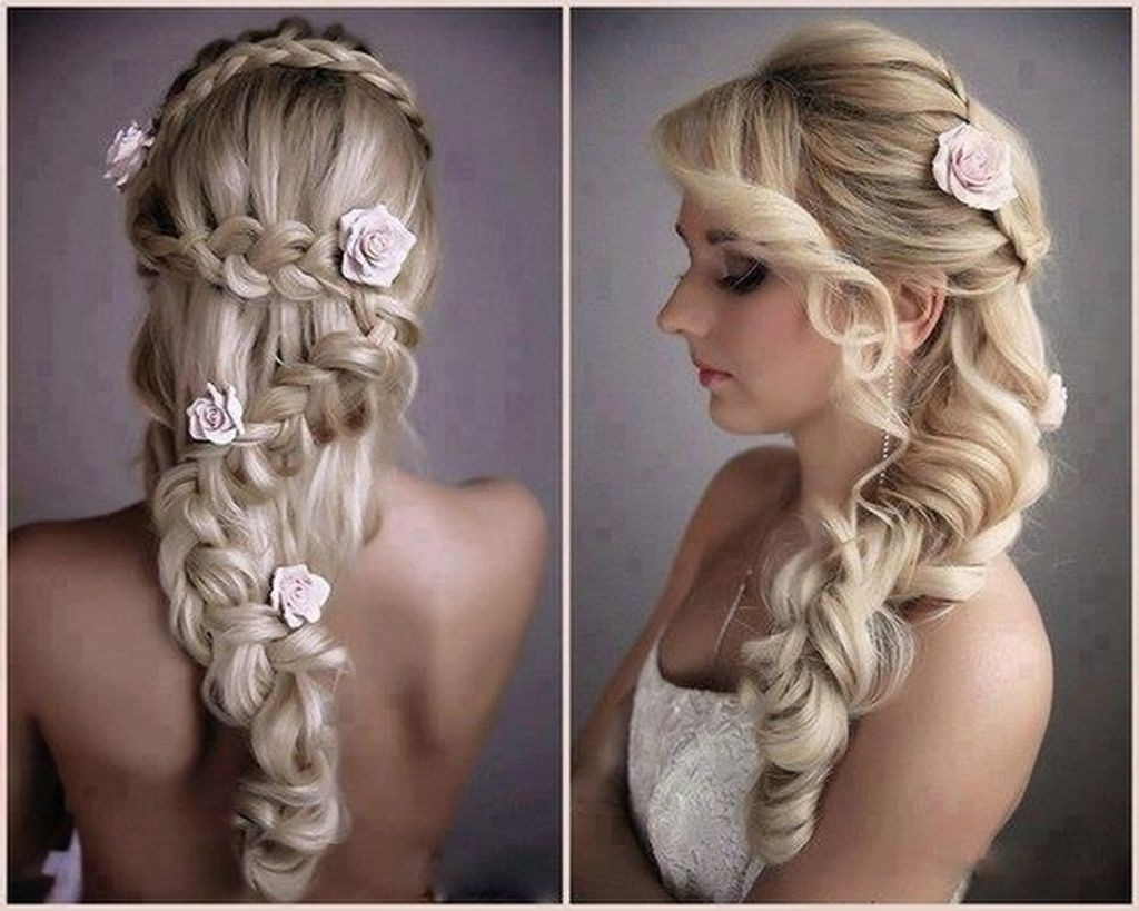 Most Recently Released Wedding Hairstyles For Long Hair Down With Flowers For Hairstyles : Wedding Hairstyles For Long Hair Down Wedding (View 9 of 15)
