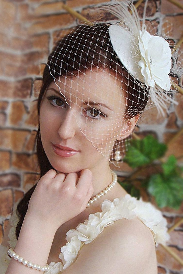 Most Recently Released Wedding Hairstyles For Long Hair With Birdcage Veil Regarding Bridal Mini Hat Wedding Hairstyles Bridal Hair Wedding Birdcage Veil (View 9 of 15)