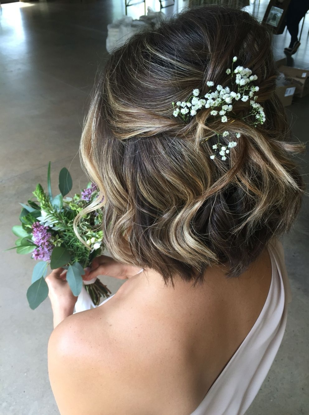 Most Up To Date Wedding Hairstyles With Flowers With Regard To Wedding Hairstyles Low Messy Chignon For Short Hair With Flowers (View 9 of 15)