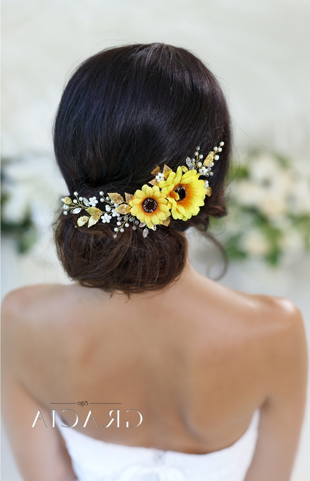 Most Up To Date Wedding Hairstyles With Sunflowers Throughout Bridal Headbands – Topgracia Handmade Bridesmaid Bridal Hair (View 14 of 15)