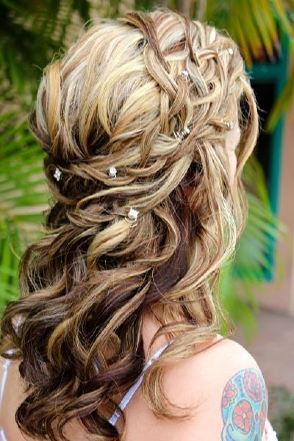 Newest Half Up Half Down With Braid Wedding Hairstyles Regarding Ideas Weddingyles Half Up Down For Short Hair Shoulder Length (View 11 of 15)