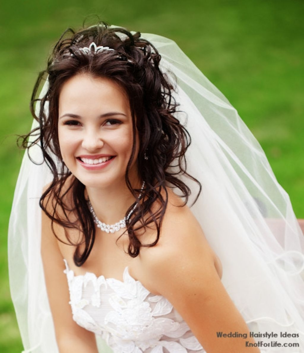 Newest Wedding Hairstyles For Long Hair With Veil And Tiara Throughout Beautiful Styles Of Wedding Hairstyles With Veils And Tiaras (View 5 of 15)