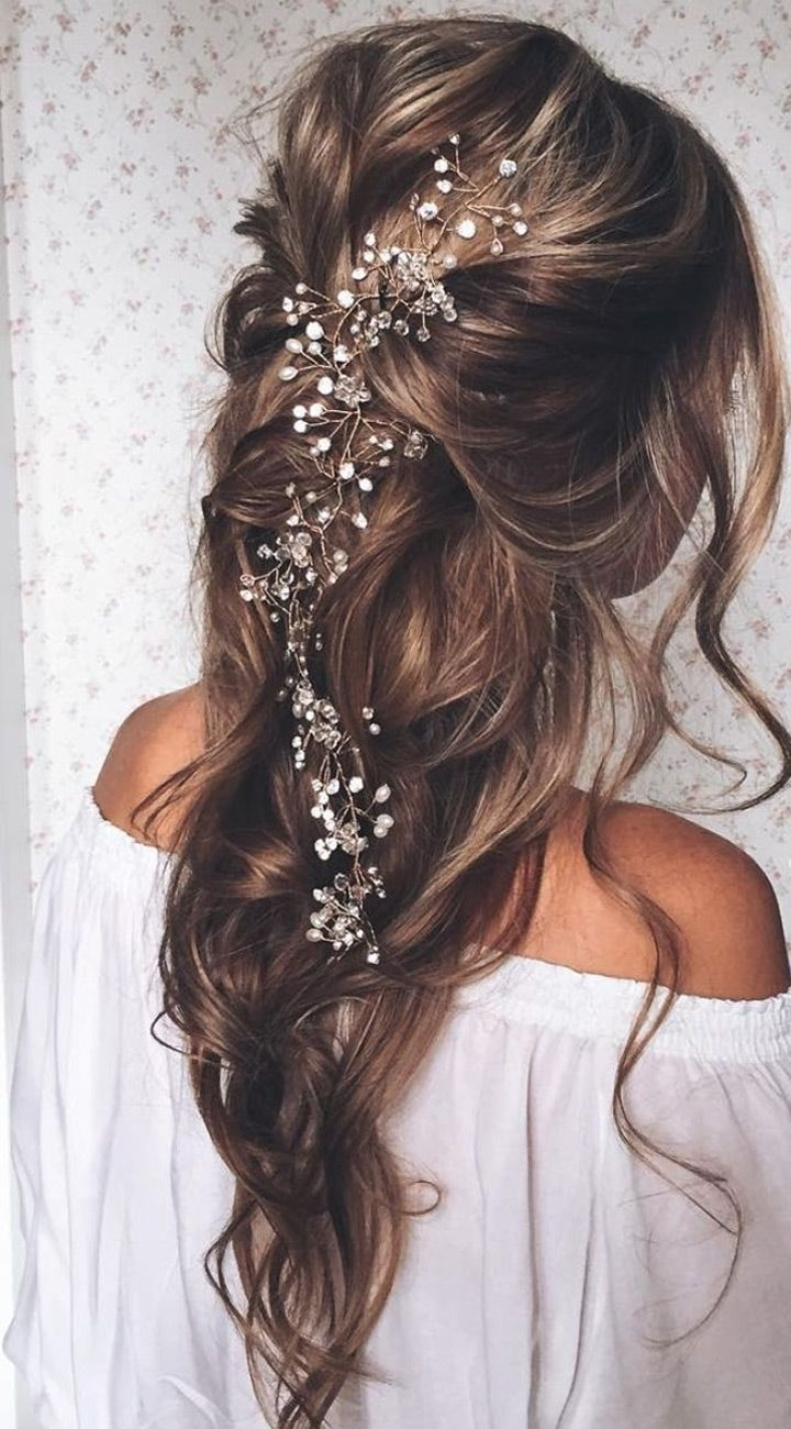 Photo: Wedding Hair Pieces For Medium Hair Down Wedding Hairstyles Inside Fashionable Wedding Hairstyles With Accessories (View 9 of 15)