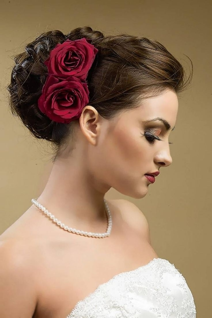 Photo: Wedding Hairstyles For Thin Shoulder Length Hair With Roses In Well Known Wedding Hairstyles For Thin Mid Length Hair (View 8 of 15)
