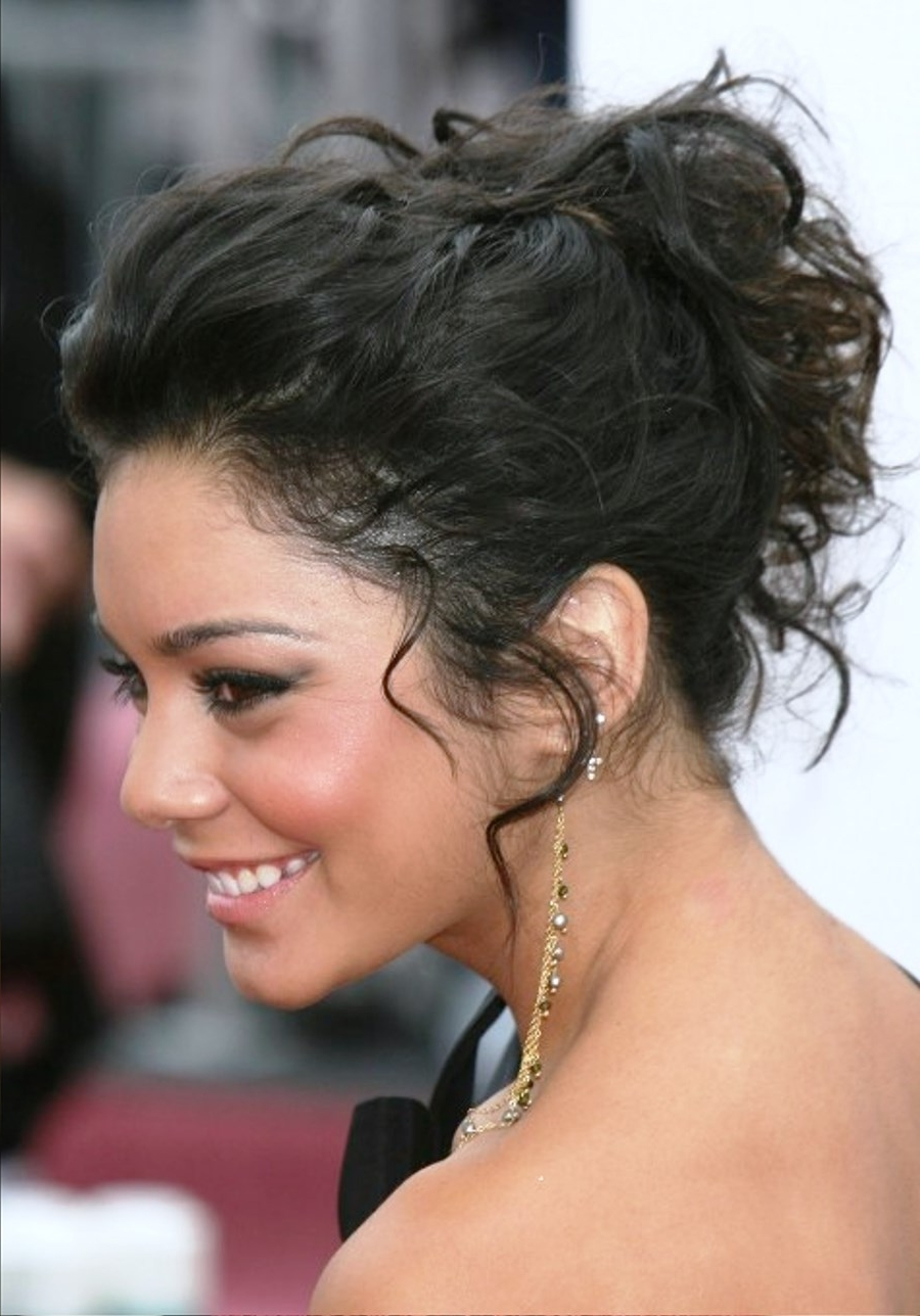 Pictures Of Elegant Curly Messy Wedding Updo With Regard To Most Current Curly Medium Length Hair Wedding Hairstyles (View 9 of 15)