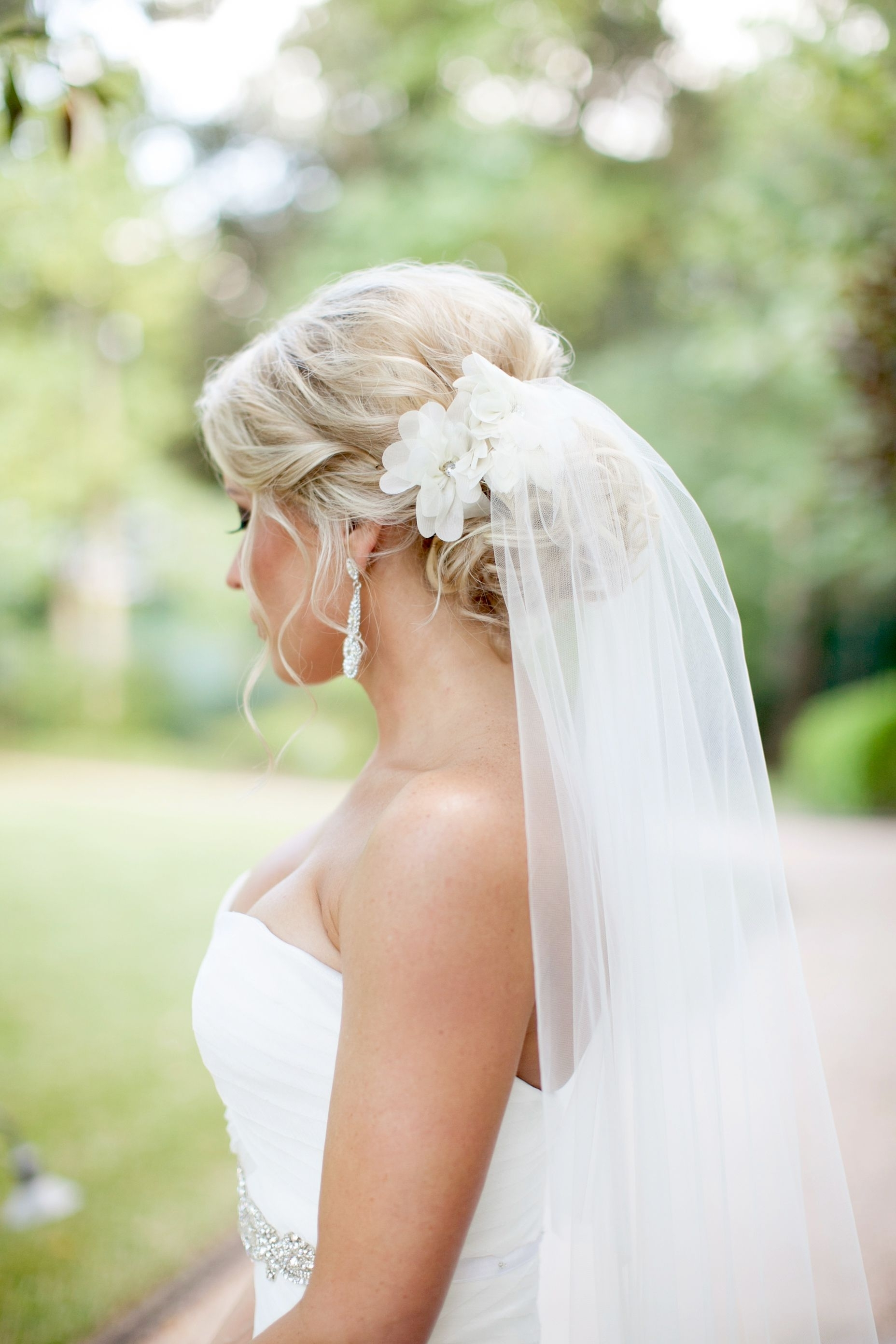 Pinteres… Inside Latest Wedding Hairstyles With Veil And Flower (View 7 of 15)