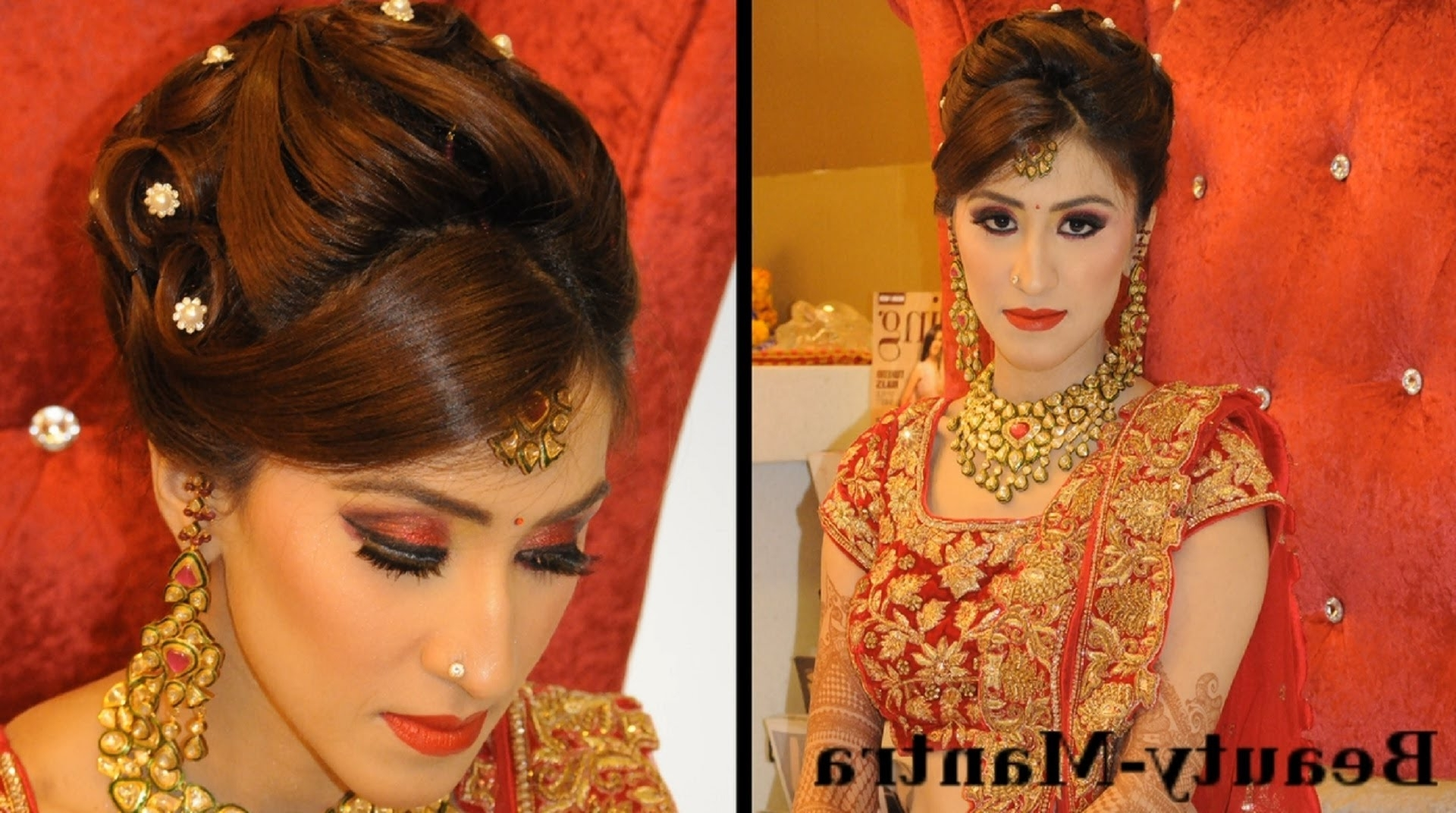 Popular North Indian Wedding Hairstyles For Long Hair Pertaining To Indian Wedding Makeup – Gorgeous Reception Look – Complete Hair And (View 4 of 15)