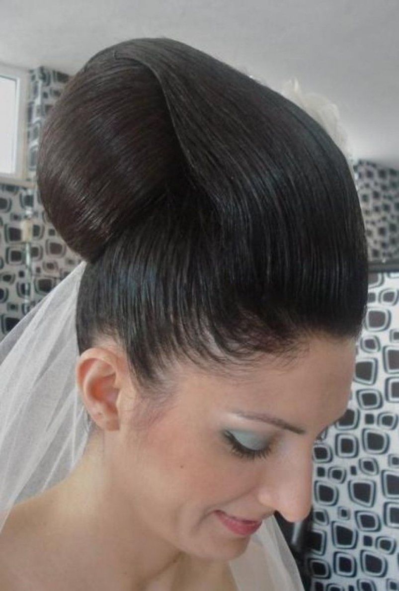 Popular Pulled Back Wedding Hairstyles Regarding Wedding Hairstyles Ideas: Pulled Back Classic Black Wedding Updo (View 10 of 15)