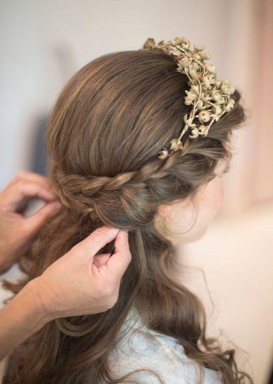 Popular Wedding Down Hairstyles For Medium Length Hair Within Medium Hair Half Up Half Down Wedding Hairstyles For Medium Length (View 11 of 15)