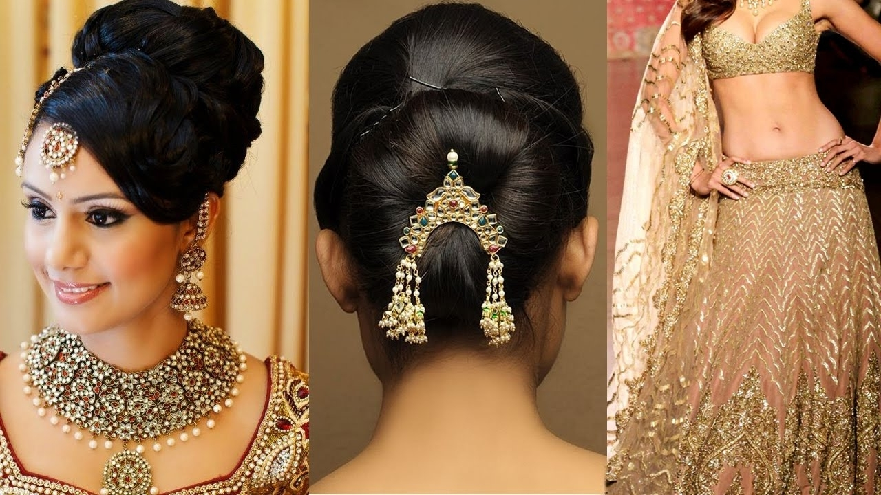 Popular Wedding Hairstyles For Lehenga Within Lehenga Style Saree Draping With Makeup And Hairstyle Stepstep (View 13 of 15)