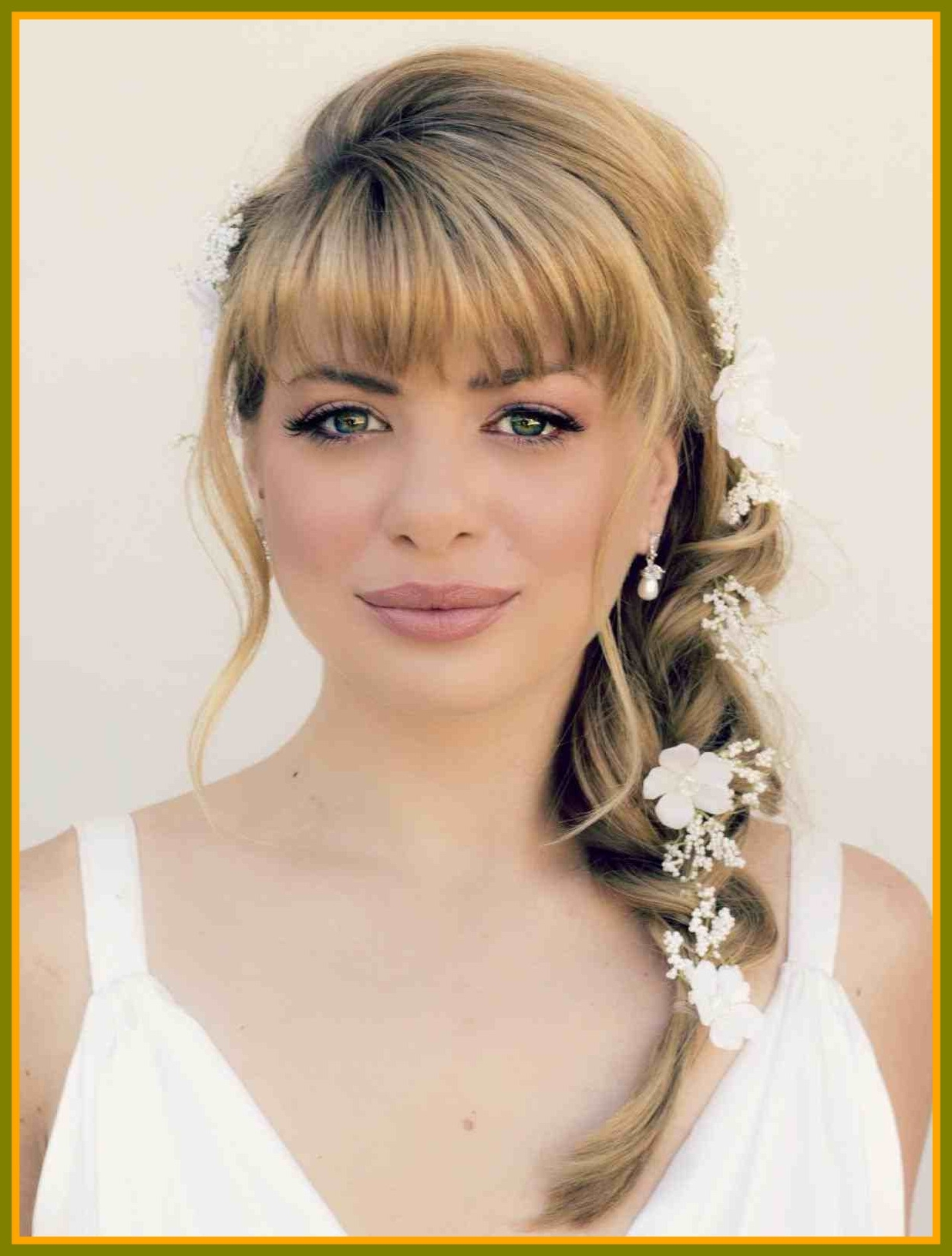 Popular Wedding Hairstyles For Long Hair And Fringe Within Astonishing Hair With Fringe Updo Wedding Hairstyles For Long Half (View 12 of 15)