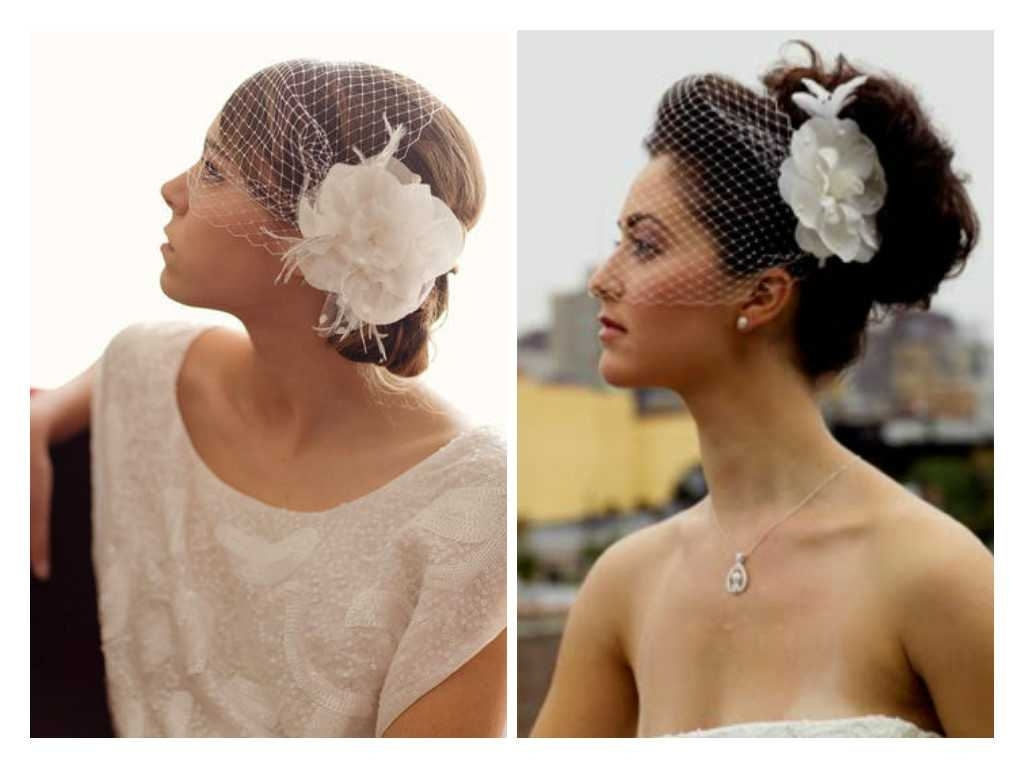 Popular Wedding Hairstyles For Long Hair With Birdcage Veil In Blusher Birdcage Veil Hairstyles Archives • Studyingsomuch (View 15 of 15)