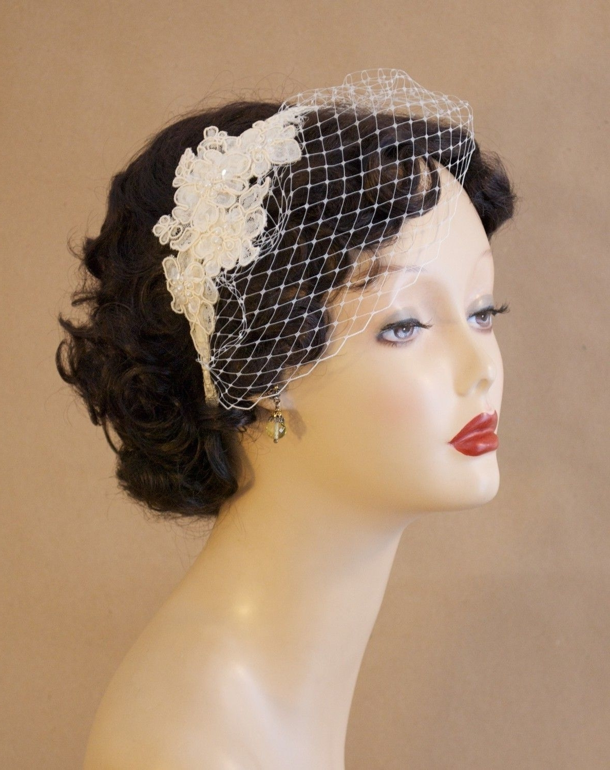 Popular Wedding Hairstyles For Short Hair With Birdcage Veil For Bridal Birdcage Veil Blusher With Alencon Lace, Bead, And Sequin (View 2 of 15)