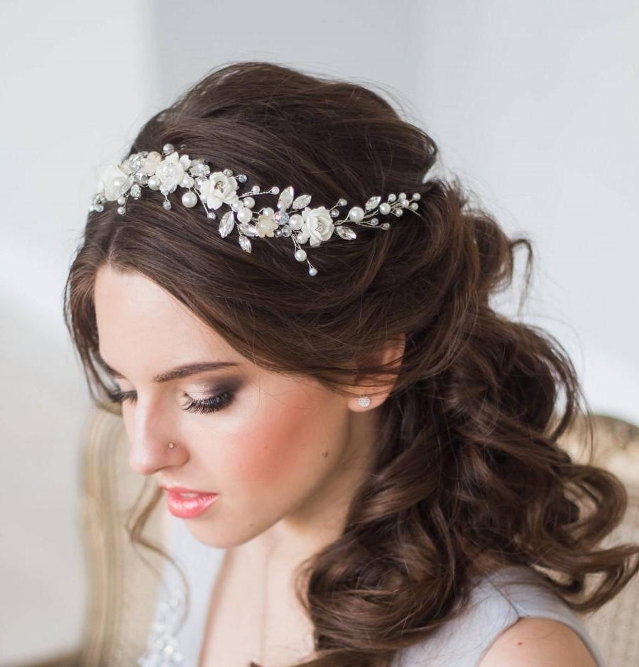 Popular Wedding Hairstyles With Tiara With Regard To Bridal Hair Vine Floral Bridal Tiara Wedding Diadem Pearl Hair Vine (View 11 of 15)