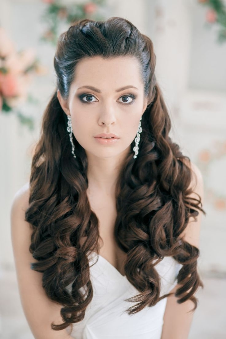Preferred Hair Half Up Half Down Wedding Hairstyles Long Curly Pertaining To 40 Stunning Half Up Half Down Wedding Hairstyles With Tutorial (View 12 of 15)