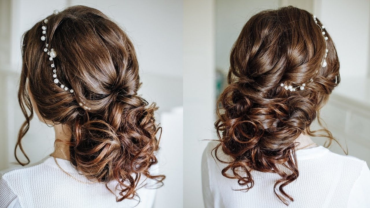 Preferred Wedding Hairstyles For Dark Hair Intended For Easy Romantic Wedding Hairstyle For Long Medium Hair / Easy Loose (View 10 of 15)