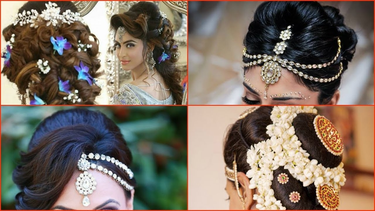 Preferred Wedding Hairstyles For Young Brides With Regard To 10 Most Beautiful Indian Bridal Hairstyle Images – Youtube (View 8 of 15)