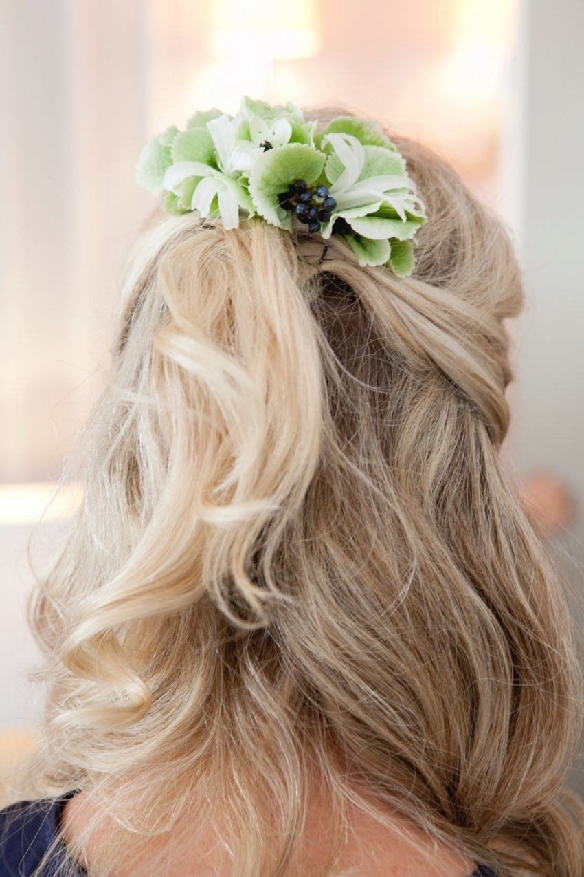 Recent Half Up Half Down With Flower Wedding Hairstyles Inside Wedding Hairstyles Half Up Half Down With Flower (View 11 of 15)