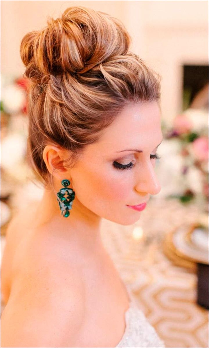Recent High Bun Wedding Hairstyles Pertaining To 47 Glorious & Gorgeous Wedding Hairstyles For Medium Hair (View 12 of 15)