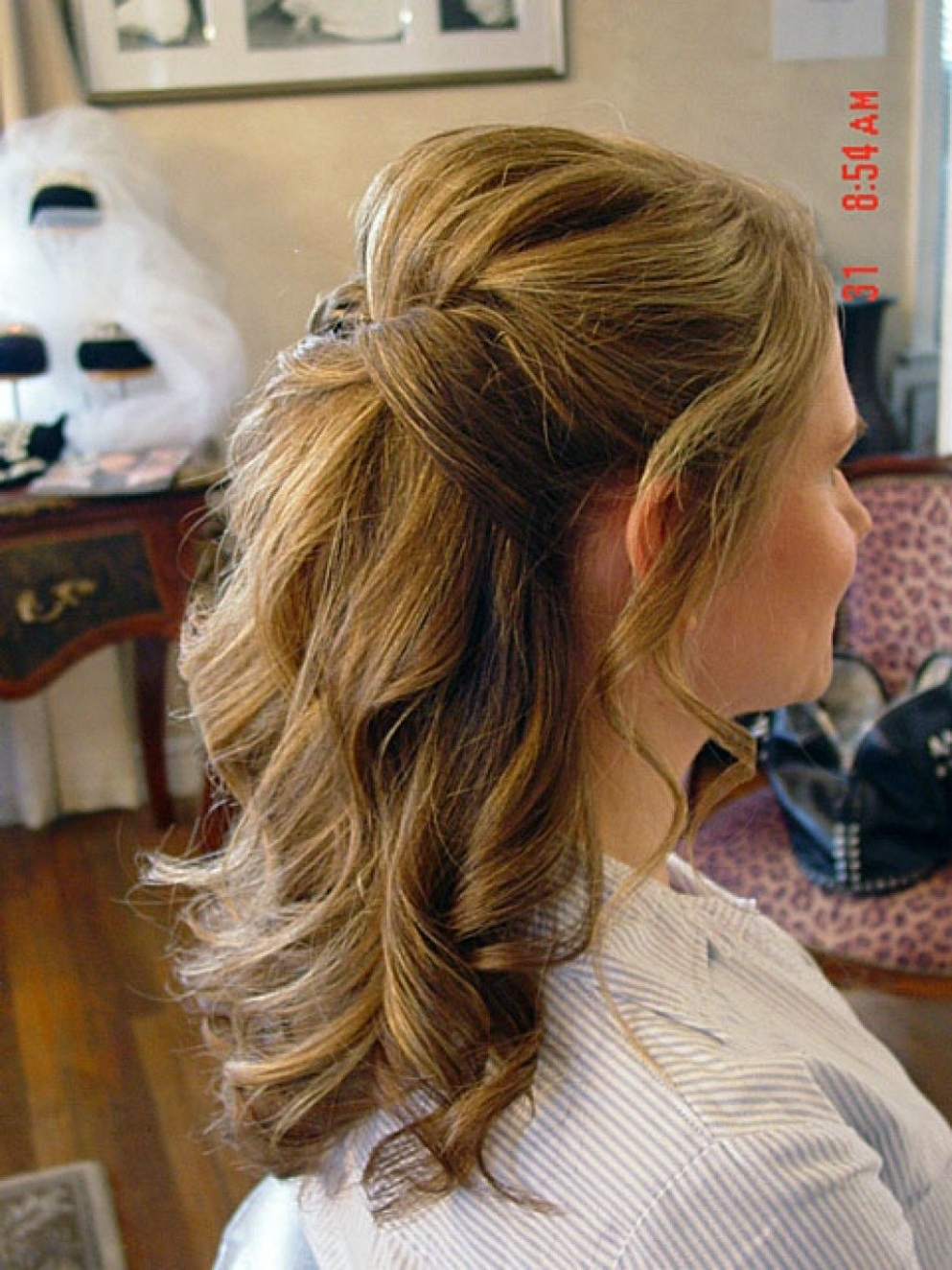 Recent Wedding Hairstyles For Medium Length Layered Hair Regarding Medium Length Half Up Half Down Flowers – Google Search (View 12 of 15)