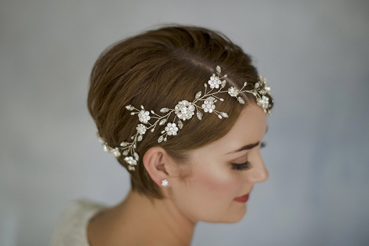 Recent Wedding Hairstyles With Accessories Throughout How To Style Wedding Hair Accessories With Short Hair (View 12 of 15)