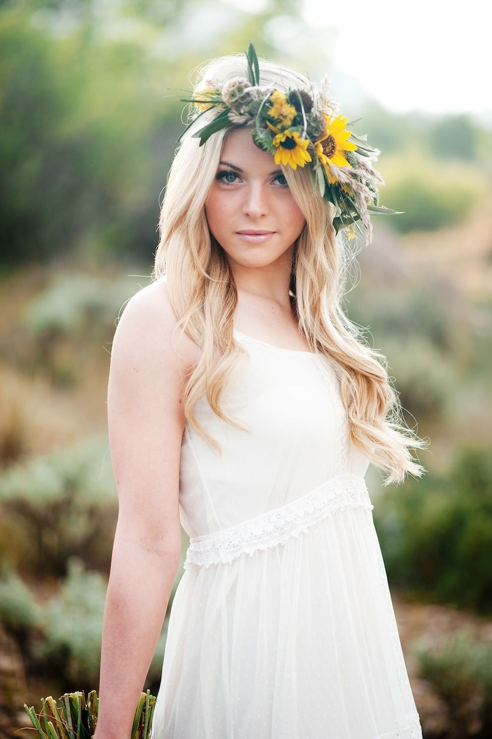 Recent Wedding Hairstyles With Sunflowers In Desert Sunflower Inspired Flower Crown Halo Utah Wedding Florist (View 8 of 15)