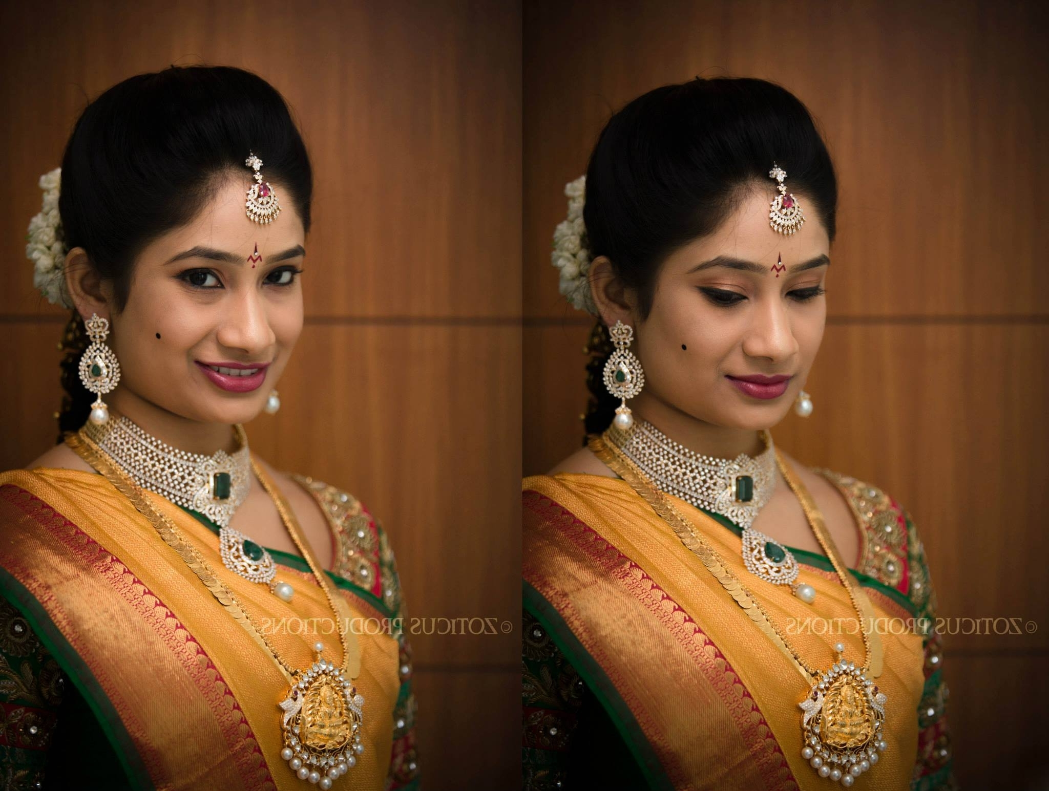 Recent Wedding Reception Hairstyles For Saree For Adorable Reception Hairstyle For South Indian Bride With Traditional (View 10 of 15)