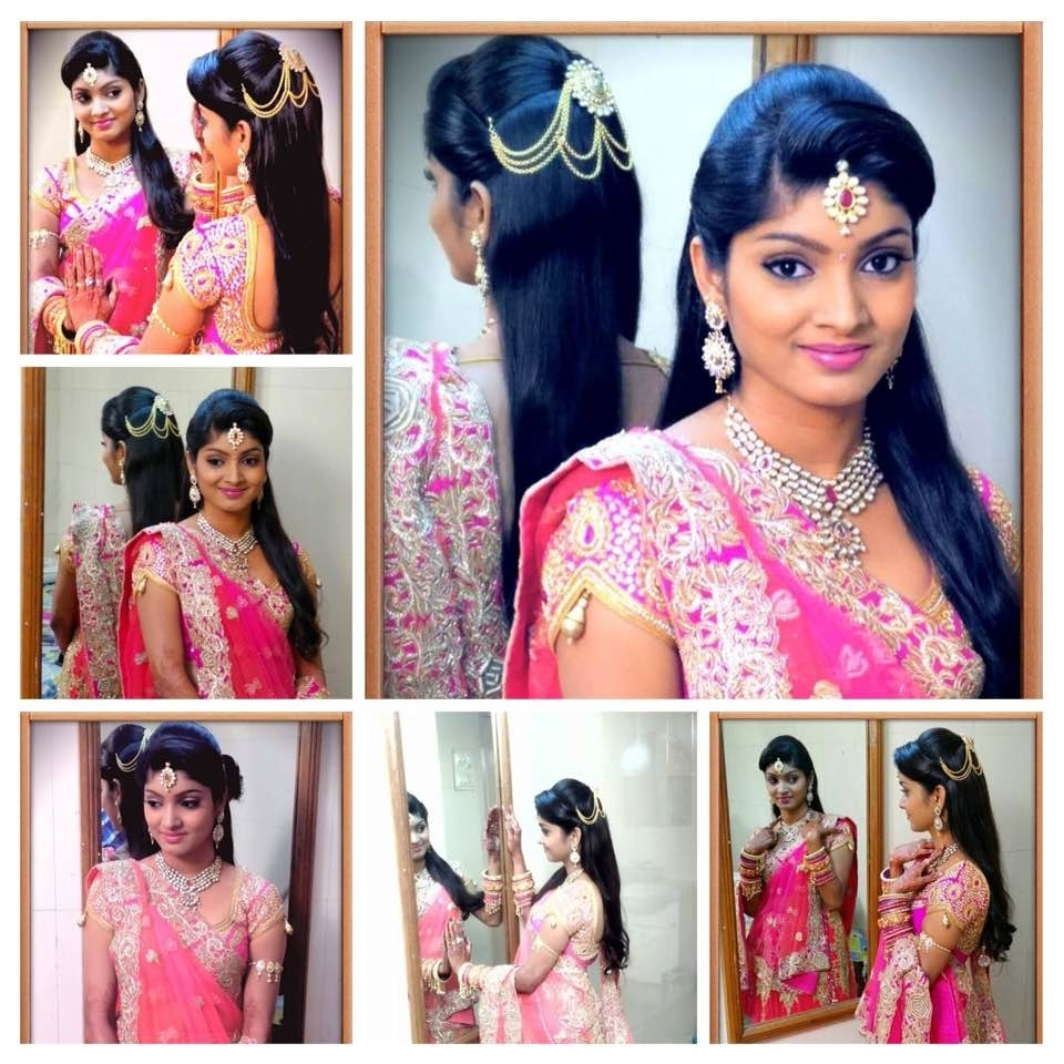 Recent Wedding Reception Hairstyles For Saree Intended For Latest Bridal Hairstyles For Wedding Sarees – Indian Hairstyles For (View 11 of 15)