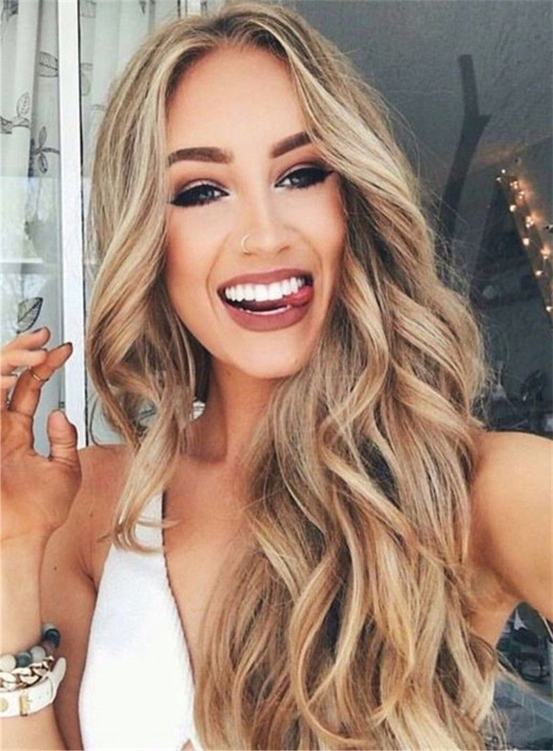 Sexy Long Wavy Middle Part Lace Front Human Hair Wigs 24 Inches Throughout 2018 Middle Part Wedding Hairstyles (View 9 of 15)