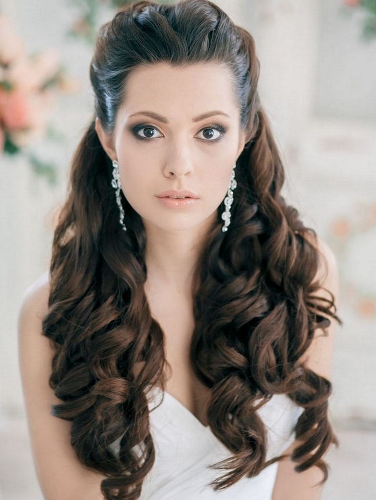 Side Curls Wedding Hairstyles Curly Wedding Hair Swept Bangs Side In Preferred Wedding Hairstyles To The Side With Curls (View 12 of 15)