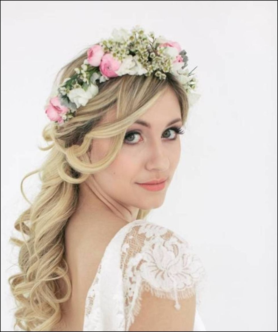 Side Ponytail Wedding Hairstyle With Flowered Headband 02 – Latest Inside 2018 Wedding Hairstyles For Long Hair To The Side (View 11 of 15)
