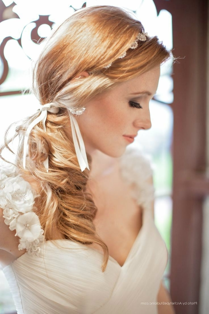 Side Ponytail Wedding Hairstyles For Long Wavy Blonde Hair Stock With Regard To Well Known Wedding Hairstyles For Long Blonde Hair (View 12 of 15)