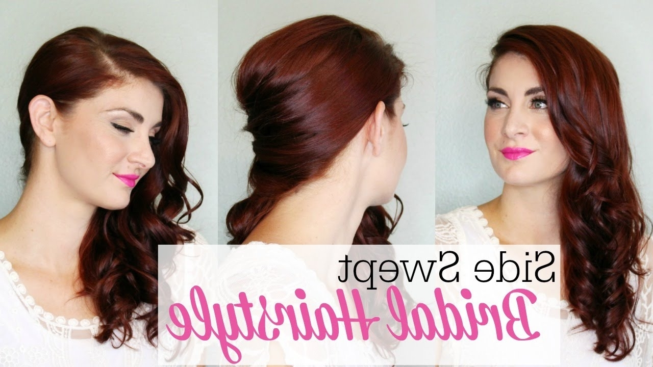 Side Swept Bridal Style – Youtube Intended For Famous Side Swept Wedding Hairstyles (View 15 of 15)