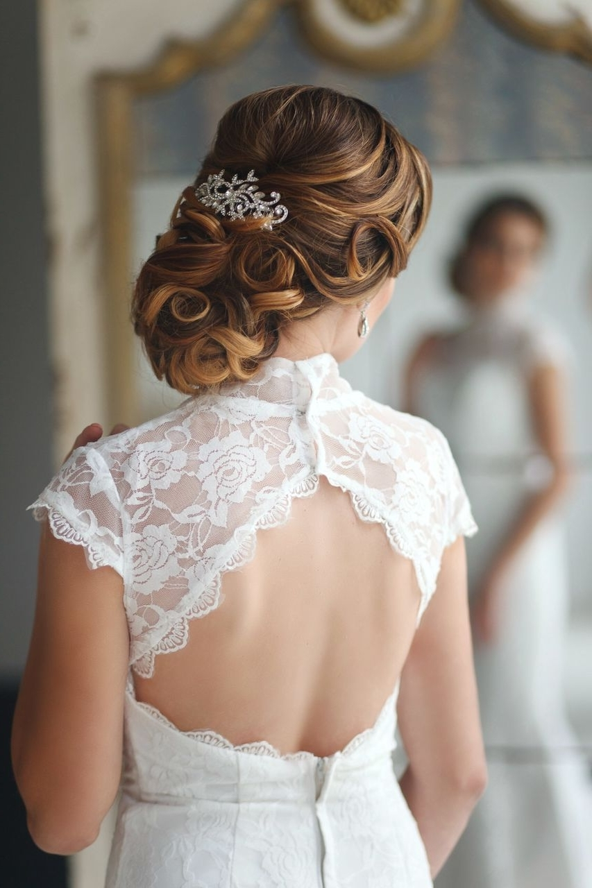 Side Swept Updo Wedding Hairstyles Hair Curly Bridal Curls With Veil Intended For Best And Newest Curly Updos Wedding Hairstyles (View 13 of 15)