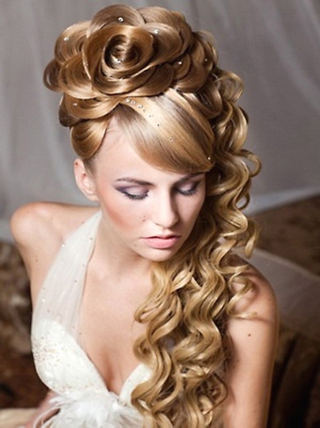 Side Swept Updo Wedding Hairstyles Hair Curly Bridal Curls With Veil With Most Recently Released Wedding Hairstyles For Long Ponytail Hair (View 9 of 15)