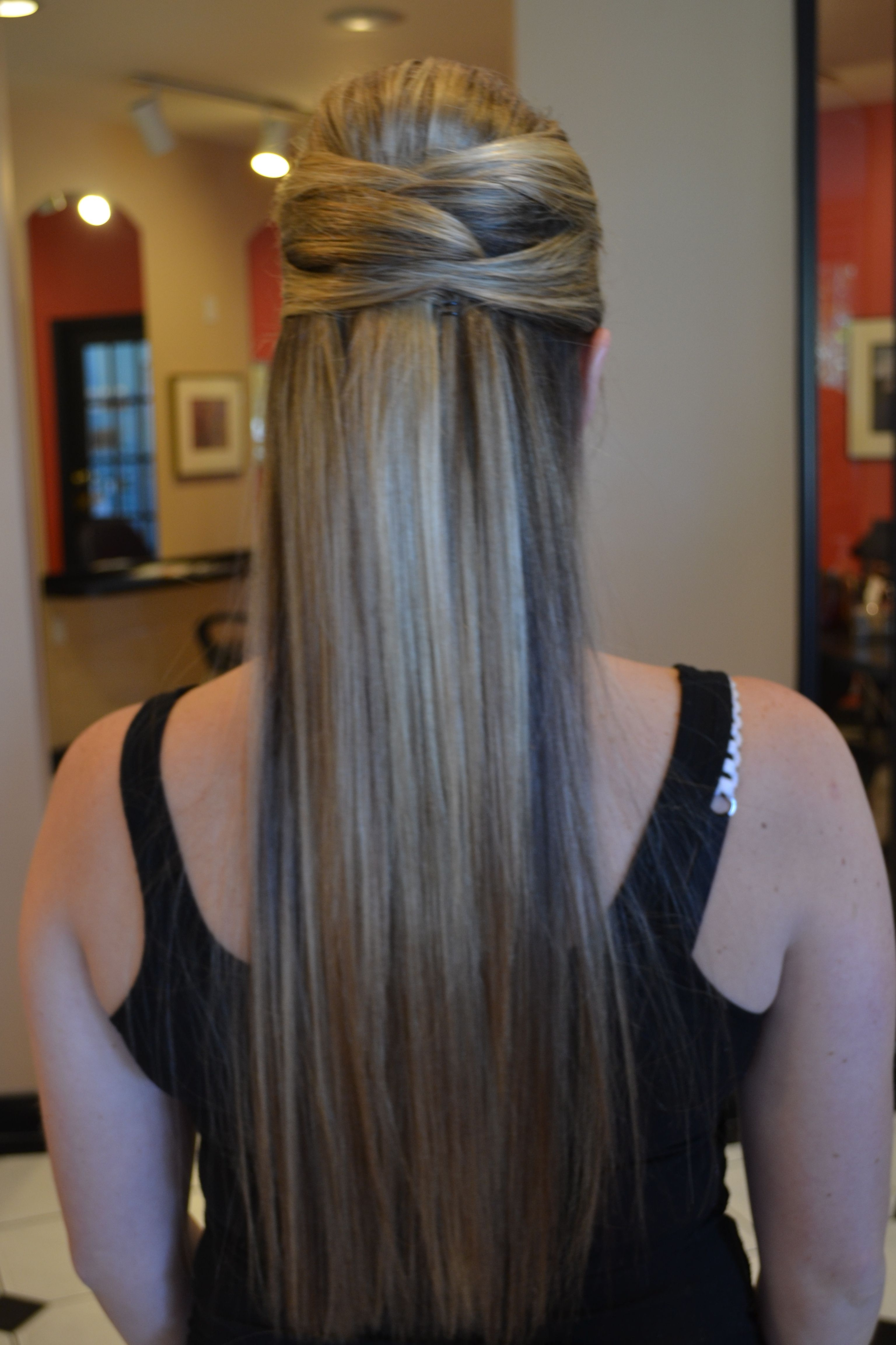 Simple Bridesmaid Hairstyle For Wedding (long, Straight Hair Pertaining To Newest Wedding Hairstyles For Straight Hair (View 1 of 15)