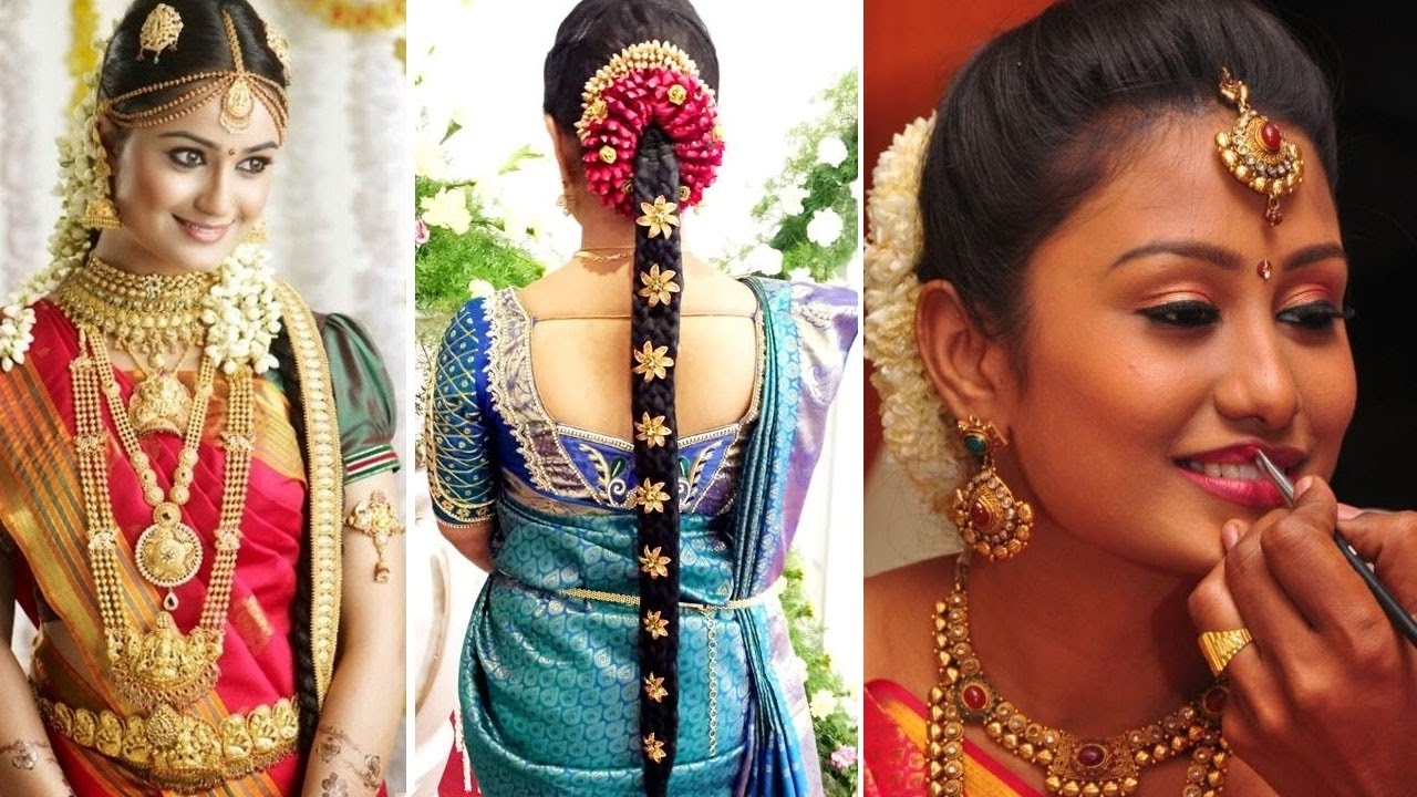 South Indian Bridal Saree Draping With Bridal Makeup And Bridal With Regard To Newest Wedding Reception Hairstyles For Saree (View 14 of 15)