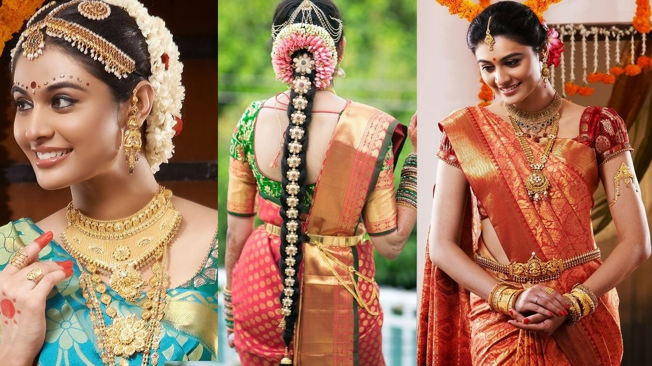 South Indian Bridal Saree Draping With Bridal Makeup &bridal With Recent Wedding Reception Hairstyles For Saree (View 13 of 15)