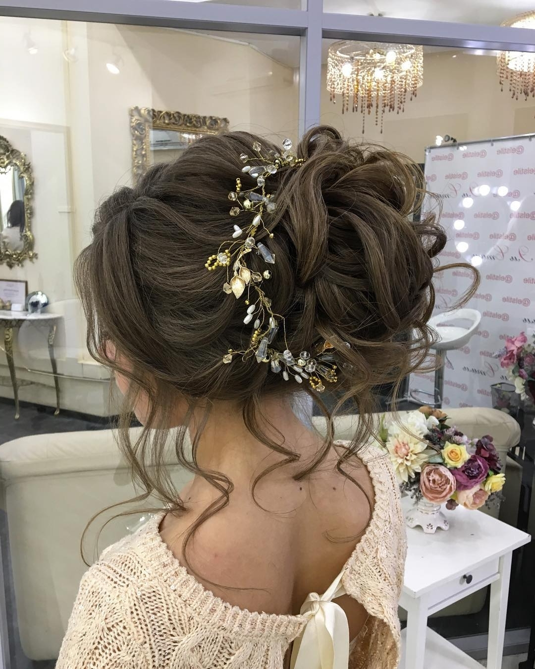Style Up Messy Bun Hairstyle For Dramatic Romantic Bridal Beauty Within Popular Messy Bun Wedding Hairstyles (View 7 of 15)