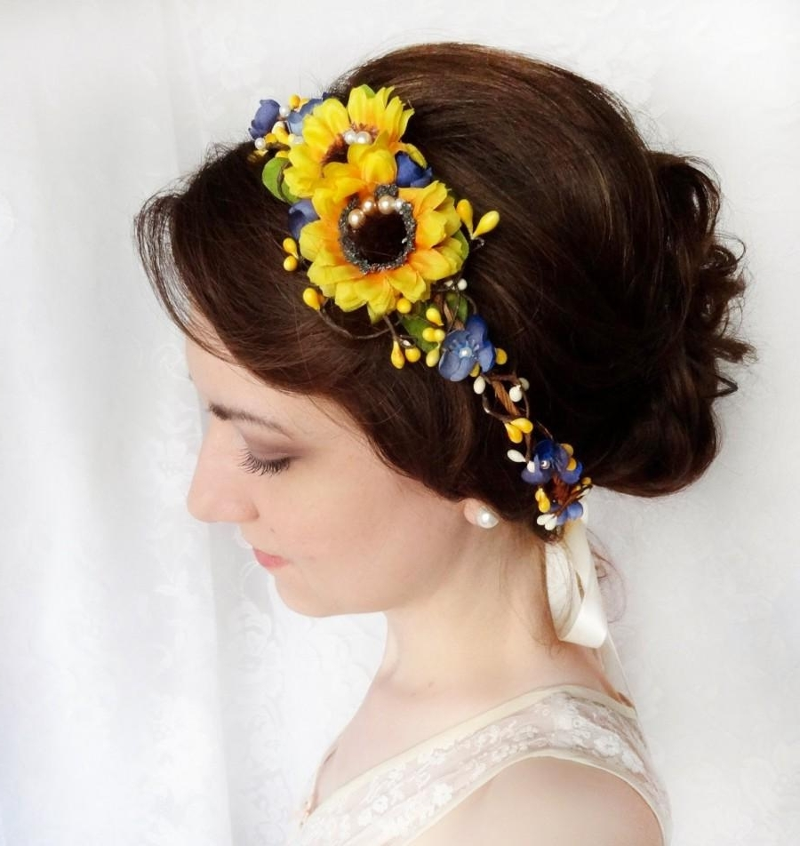 Sunflower Crown, Sunflower Wedding, Sunflower Headband, Yellow Intended For Latest Wedding Hairstyles With Sunflowers (View 6 of 15)