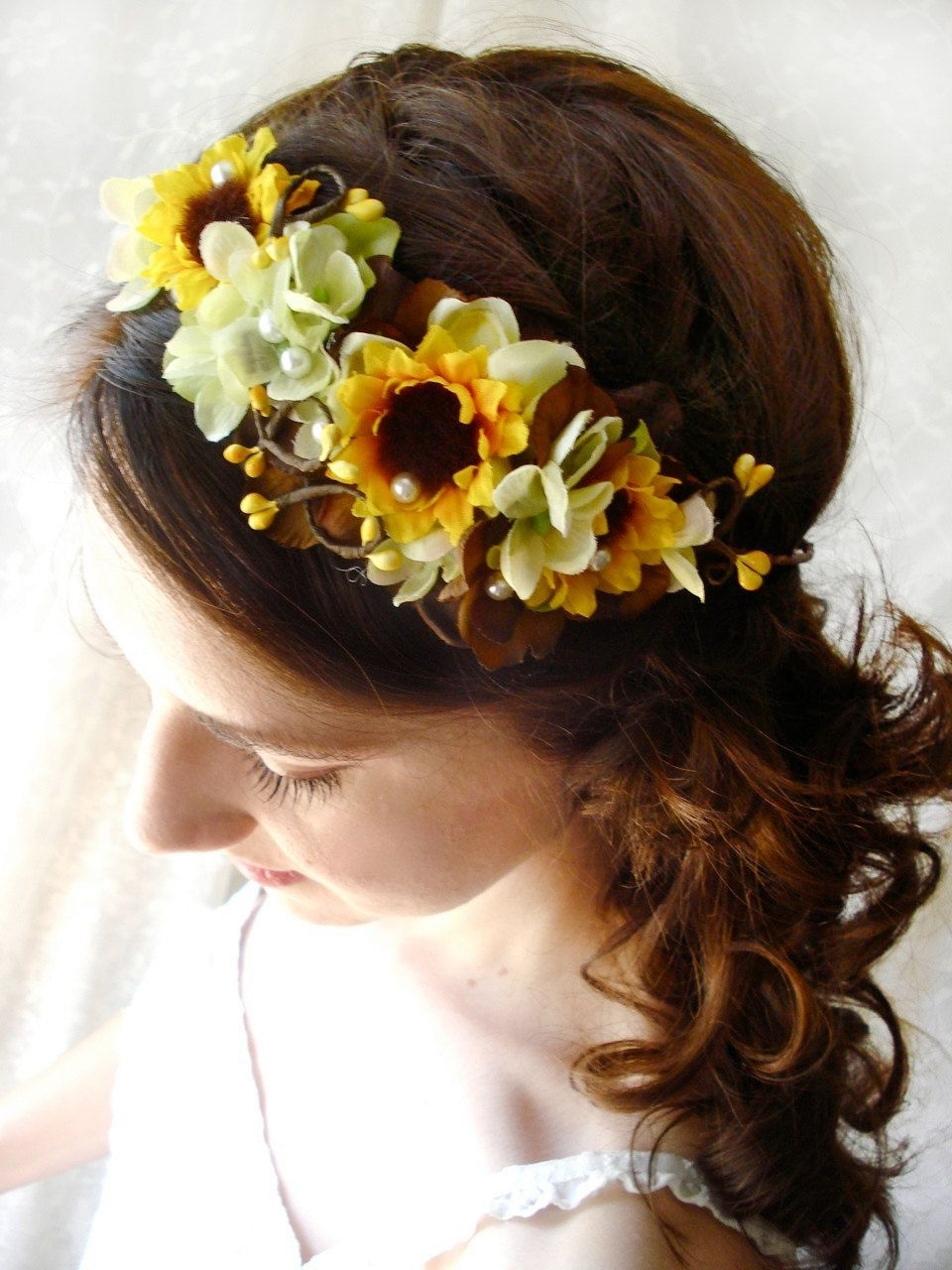 Sunflower Head Wreath, Yellow Flower Accessory, Bridal Hair Piece In Latest Wedding Hairstyles With Sunflowers (View 2 of 15)