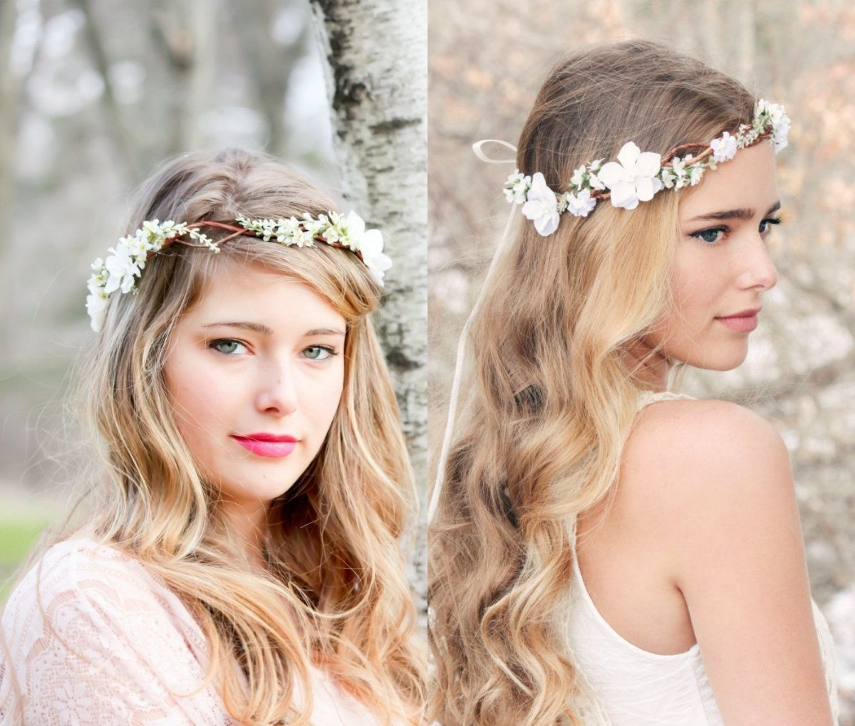 Thin Flower Crown Bridal Hairstyles (View 4 of 15)